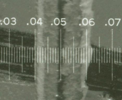 close-up of the view through the English reticle